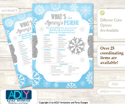 Boy Snowflake What is in Mommy's Purse, Baby Shower Purse Game Printable Card , Blue Grey,  Silver