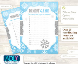 Boy Snowflake Memory Game Card for Baby Shower, Printable Guess Card, Blue Grey, Silver