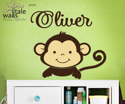Boy Monkey Jungle Wall Decal with name for boy or girl nursery- brown monkey sticker