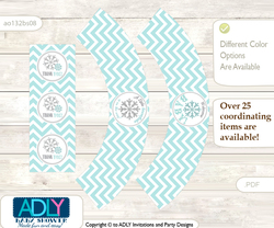 Printable Neutral Snowflake Cupcake, Muffins Wrappers plus Thank You tags for Baby Shower Aqua Grey, Chevron