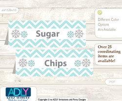 Printable Neutral Snowflake Buffet Tags or Food Tent Labels  for a Baby Shower or Birthday , Aqua Grey, Chevron