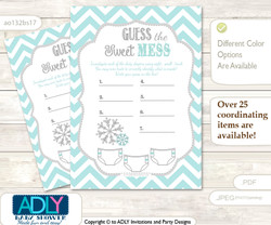 Neutral Snowflake Dirty Diaper Game or Guess Sweet Mess Game for a Baby Shower Aqua Grey, Chevron