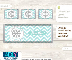 Neutral Snowflake Chocolate Bar Wrapper and Nuggets Candy Wrapper Label for Baby Neutral Shower  Aqua Grey , Chevron