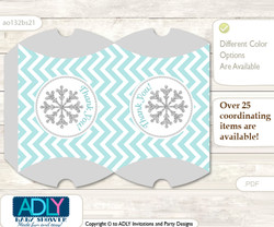 Neutral Snowflake Pillow Box for Candy, Little Treats or Small Gift of any Baby Shower or Birthday, Aqua Grey , Chevron