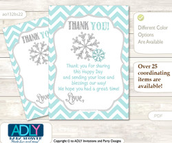 Neutral  Snowflake Thank you Cards for a Baby Neutral Shower or Birthday DIY Aqua Grey, Chevron