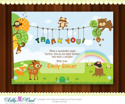 Personalized Forest/Woodland Thank you Baby Shower Printable DIY card with forest animals, fawn,hadgehog,bear,fox,frog - ONLY digital file