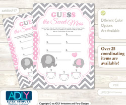 Girl Elephant Dirty Diaper Game or Guess Sweet Mess Game for a Baby Shower Polka, Chevron