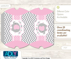 Girl Elephant Pillow Box for Candy, Little Treats or Small Gift of any Baby Shower or Birthday, Polka , Chevron