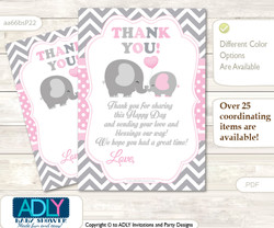 Girl  Elephant Thank you Cards for a Baby Girl Shower or Birthday DIY Polka, Chevron