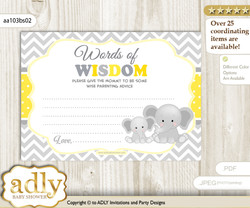 Yellow Grey Elephant Words of Wisdom or an Advice Printable Card for Baby Shower, Chevron