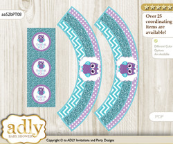 Printable Girl Owl Cupcake, Muffins Wrappers plus Thank You tags for Baby Shower Teal Purple, Chevron
