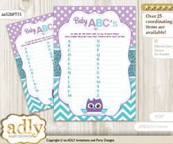 Girl Owl Baby ABC's Game, guess Animals Printable Card for Baby Owl Shower DIY –Chevron