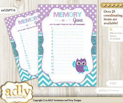 Girl Owl Memory Game Card for Baby Shower, Printable Guess Card, Teal Purple, Chevron