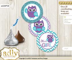 Printable  Girl Owl Candy Kisses for Baby Girl Shower DIY Teal Purple , Chevron