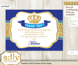 Prince Thank you Printable Card with Name Personalization for Baby Shower or Birthday Party
