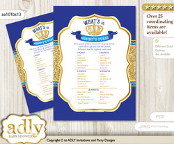 Royal Prince What is in Mommy's Purse, Baby Shower Purse Game Printable Card , Blue Gold,  Crown