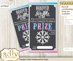 Boy Girl Snowflake Diaper Raffle Printable Tickets for Baby Shower, Pink Blue, Winter