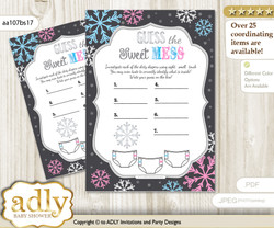 Boy Girl Snowflake Dirty Diaper Game or Guess Sweet Mess Game for a Baby Shower Pink Blue, Winter