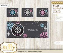 Boy Girl Snowflake Chocolate Bar Wrapper and Nuggets Candy Wrapper Label for Baby Boy Girl Shower  Pink Blue , Winter