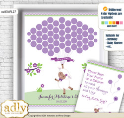 Girl Lambie Guest Book Alternative for a Baby Shower, Creative Nursery Wall Art Gift, Lime Green, Purple