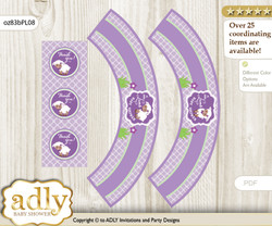 Printable Girl Lambie Cupcake, Muffins Wrappers plus Thank You tags for Baby Shower Lime Green, Purple