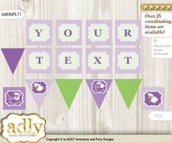 Personalized Girl Lambie Printable Banner for Baby Shower, Lime Green, Purple