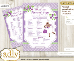 Girl Lambie What is in Mommy's Purse, Baby Shower Purse Game Printable Card , Lime Green,  Purple