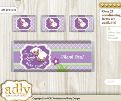 Girl Lambie Chocolate Bar Wrapper and Nuggets Candy Wrapper Label for Baby Girl Shower  Lime Green , Purple