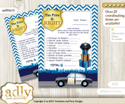 Printable Boy Police Price is Right Game Card for Baby Police Shower, Sheriff, Chevron
