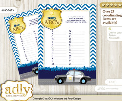 Boy Police Baby ABC's Game, guess Animals Printable Card for Baby Police Shower DIY –Chevron