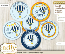 Baby Shower Boy Air Balloon Cupcake Toppers Printable File for Little Boy and Mommy-to-be, favor tags, circle toppers, Adventure, Yellow Orange