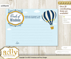 Yellow Orange Boy Air Balloon Words of Wisdom or an Advice Printable Card for Baby Shower, Adventure