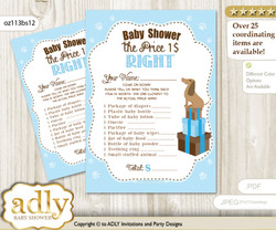 Printable Boy Dog Price is Right Game Card for Baby Dog Shower, Sausage, Blue