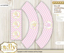 Printable Girl Snowflake Cupcake, Muffins Wrappers plus Thank You tags for Baby Shower Pink Gold, Chevron
