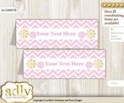 Printable Girl Snowflake Buffet Tags or Food Tent Labels  for a Baby Shower or Birthday , Pink Gold, Chevron