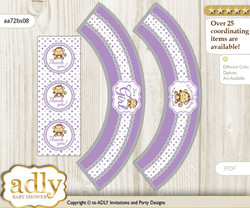 Printable Girl Monkey Cupcake, Muffins Wrappers plus Thank You tags for Baby Shower Purple Grey, Polka