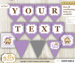 Personalized Girl Monkey Printable Banner for Baby Shower, Purple Grey, Polka