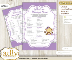 Girl Monkey What is in Mommy's Purse, Baby Shower Purse Game Printable Card , Purple Grey,  Polka