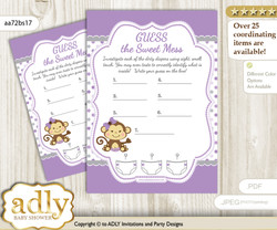 Girl Monkey Dirty Diaper Game or Guess Sweet Mess Game for a Baby Shower Purple Grey, Polka