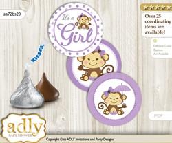 Printable  Girl Monkey Candy Kisses for Baby Girl Shower DIY Purple Grey , Polka