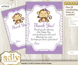 Girl  Monkey Thank you Cards for a Baby Girl Shower or Birthday DIY Purple Grey, Polka