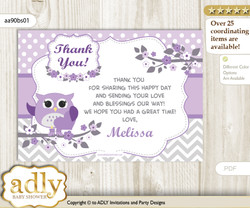 Owl Thank you Printable Card with Name Personalization for Baby Shower or Birthday Party