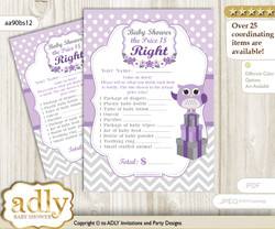 Printable Girl Owl Price is Right Game Card for Baby Owl Shower, Purple Grey, Chevron