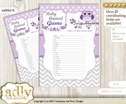 Printable Girl Owl Baby Animal Game, Guess Names of Baby Animals Printable for Baby Owl Shower, Purple Grey, Chevron