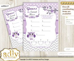 Girl Owl Dirty Diaper Game or Guess Sweet Mess Game for a Baby Shower Purple Grey, Chevron