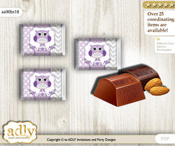 Girl Owl Chocolate Nuggets Candy Wrapper Label for Baby Girl Shower  Purple Grey , Chevron