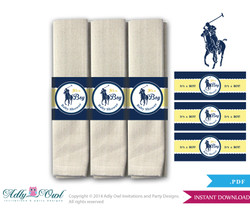 Boy Polo Napkin Ring Label Printable for Baby Polo Shower DIY navy yellow sport shower - ONLY digital file