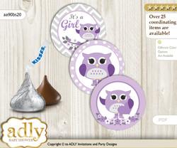 Printable  Girl Owl Candy Kisses for Baby Girl Shower DIY Purple Grey , Chevron