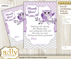 Girl  Owl Thank you Cards for a Baby Girl Shower or Birthday DIY Purple Grey, Chevron