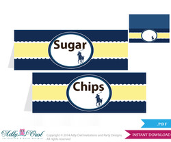 Boy Polo Food Tent Label, Menu Printable Card for Baby Polo  Shower, Birthday DIY navy yellow sport shower - ONLY digital file